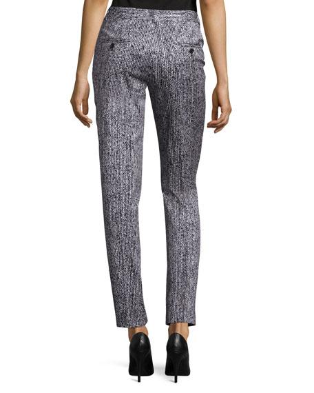 Samantha Herringbone Skinny Pants, White/Black