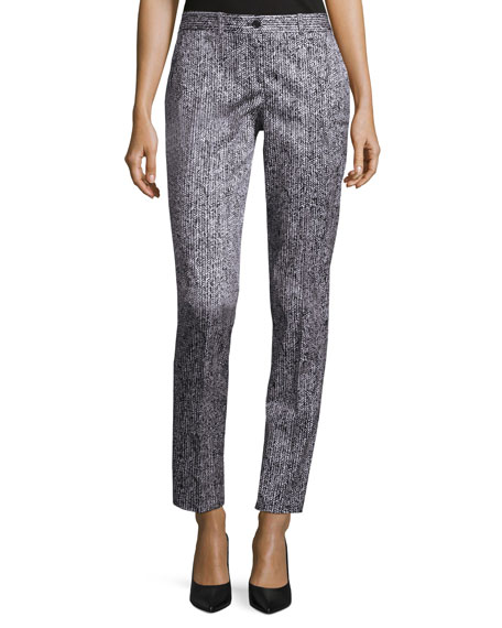 Michael Kors Samantha Herringbone Skinny Pants, White/Black