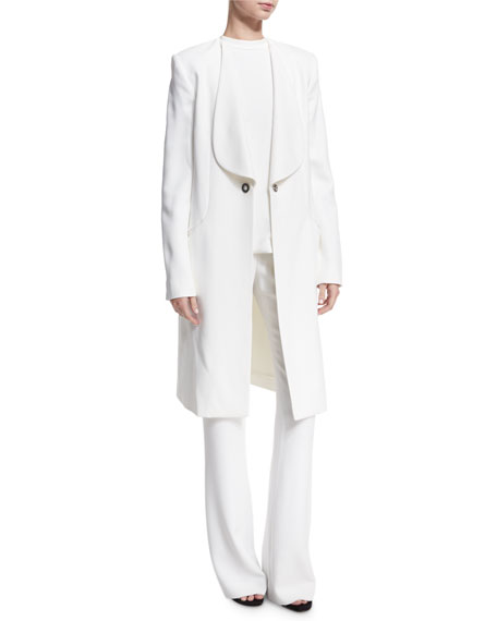 Shawl-Collar Long Coat, White