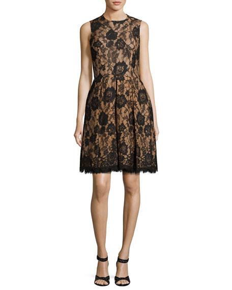Michael Kors Allover Lace Dance Dress, Black