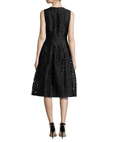 Fil Coupe Midi Bell Dress, Black