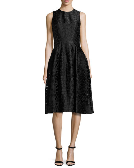 Michael Kors Fil Coupe Midi Bell Dress, Black