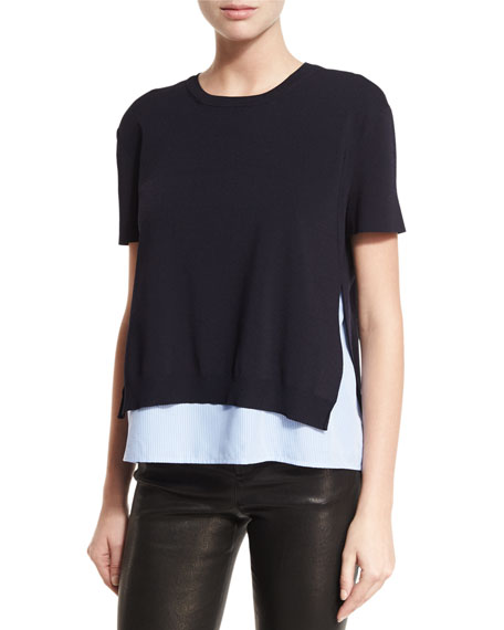 Alice + Olivia Iva Layered Short-Sleeve Sweater w/Shirt
