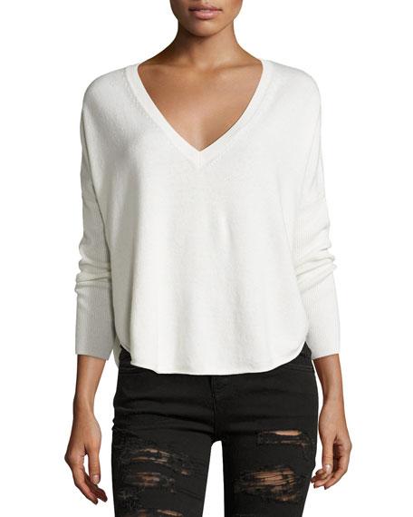 Bobbie V-Neck Round-Hem Sweater, Neutral