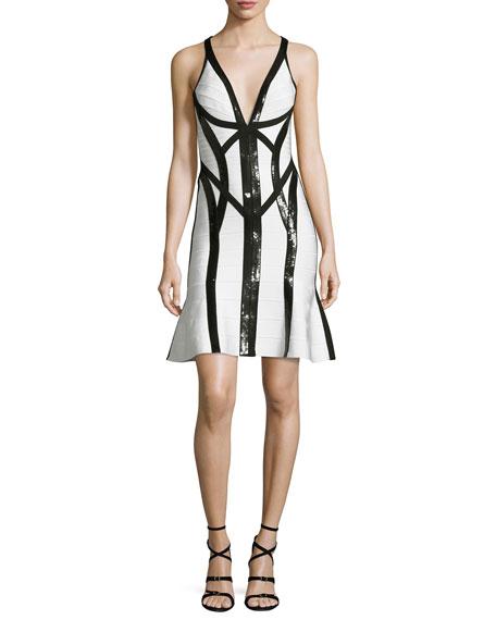 Herve Leger Sequined Sleeveless V-Neck Bandage Dress, Black/White