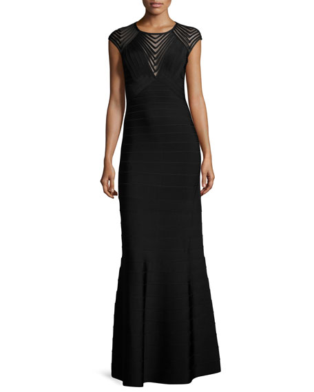 Cap-Sleeve Chevron Mesh Gown, Black