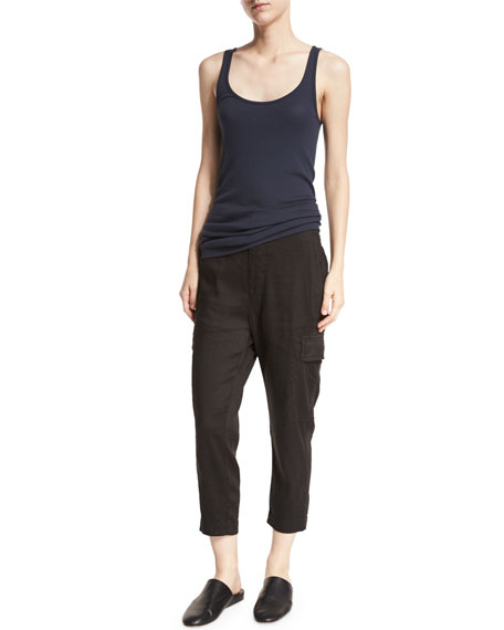 Cropped Linen-Blend Cargo Pants