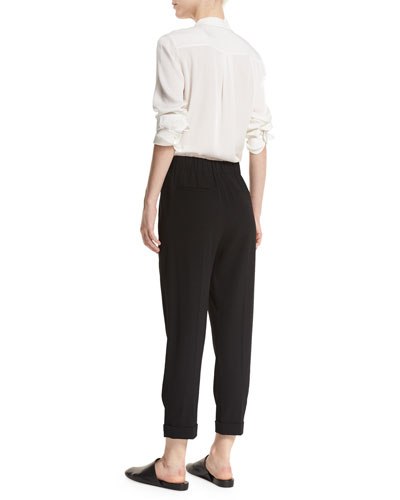 VINCE Pants PULL-ON TAPERED CROPPED TROUSERS