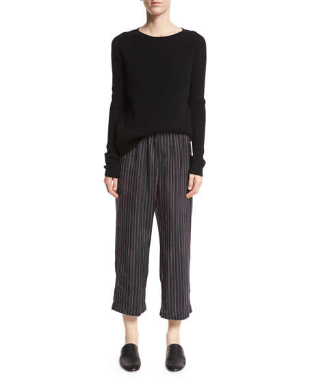 Striped Slouchy Cropped Pull-On Pants, Multi