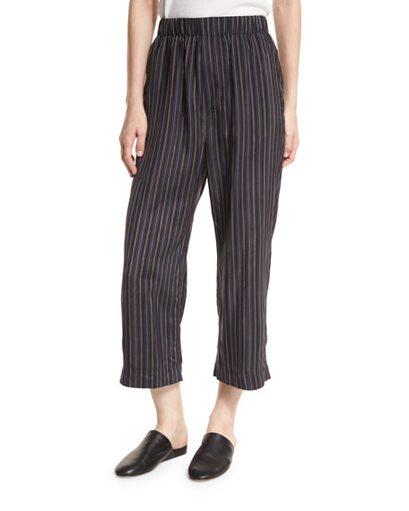 Vince Striped Slouchy Cropped Pull-On Pants, Multi