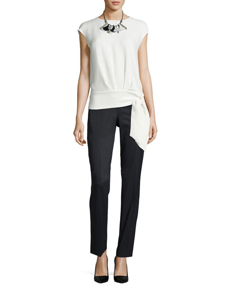 Seraphina Side-Tie Silk Blouse, Ivory