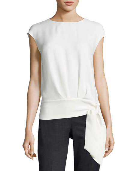 Lafayette 148 New York Seraphina Side-Tie Silk Blouse,