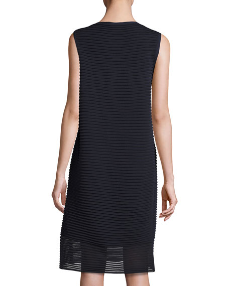 Sleeveless Pleated Stretch-Crepe Dress, Dark Blue
