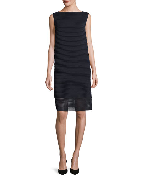 Lafayette 148 New York Sleeveless Pleated Stretch-Crepe Dress,