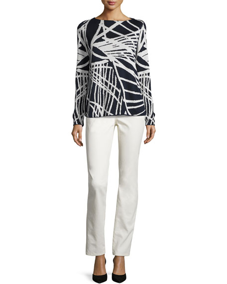 Bateau-Neck Spindle-Patterned Jacquard Sweater, Multi