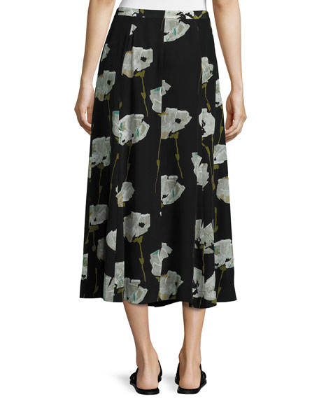 Carissa Pressed Peonies Maxi Skirt, Multi Pattern