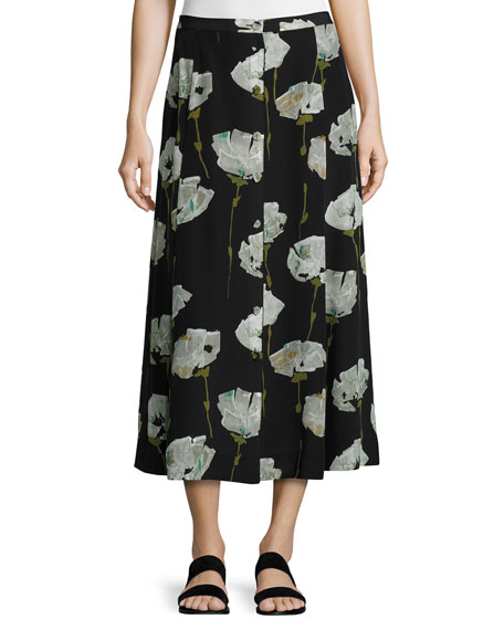 Carissa Pressed Peonies Maxi Skirt, Multi Pattern