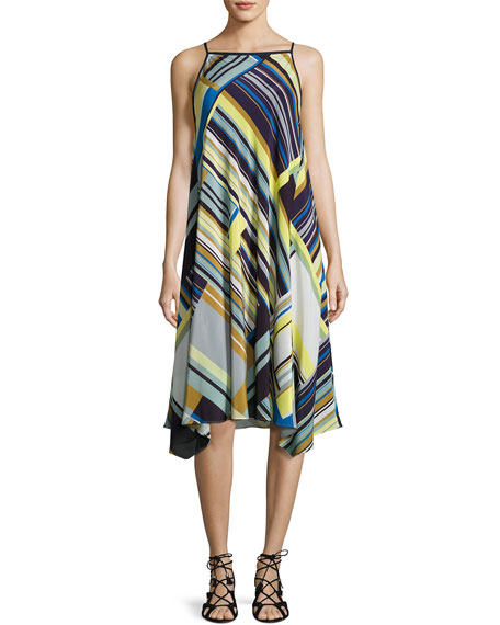 Taylor Metro-Striped Silk Dress, Multi
