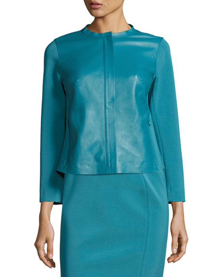 Lightweight Bracelet-Sleeve Lambskin Combo Jacket, Turquoise