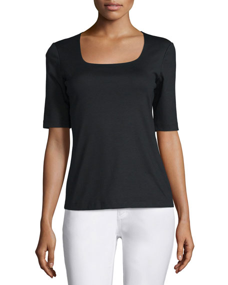 Half-Sleeve Square-Neck Top