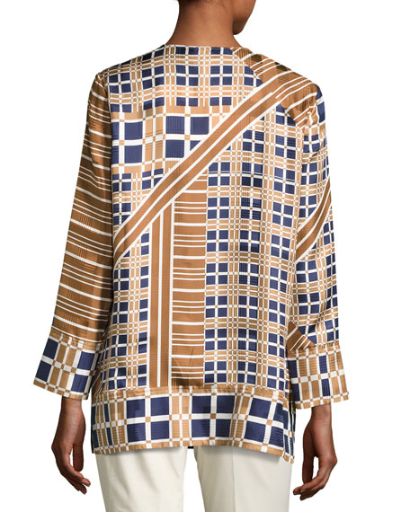 Adeline Bracelet-Sleeve Plaid Silk Blouse, Multi