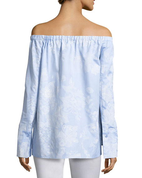 Amy Floral-Print Off-the-Shoulder Chambray Blouse, Multi