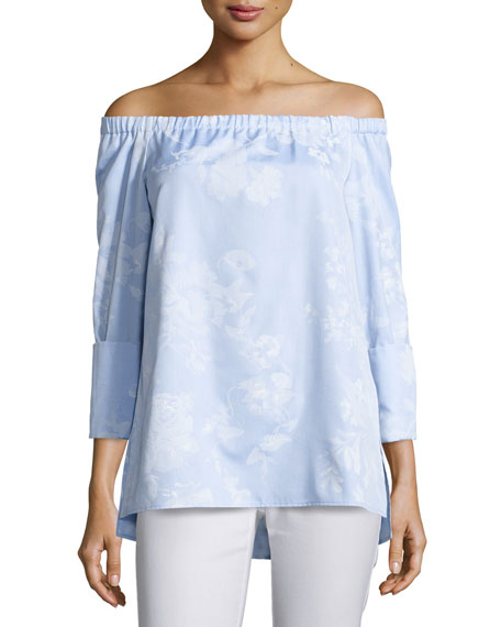 Lafayette 148 New York Amy Floral-Print Off-the-Shoulder Chambray