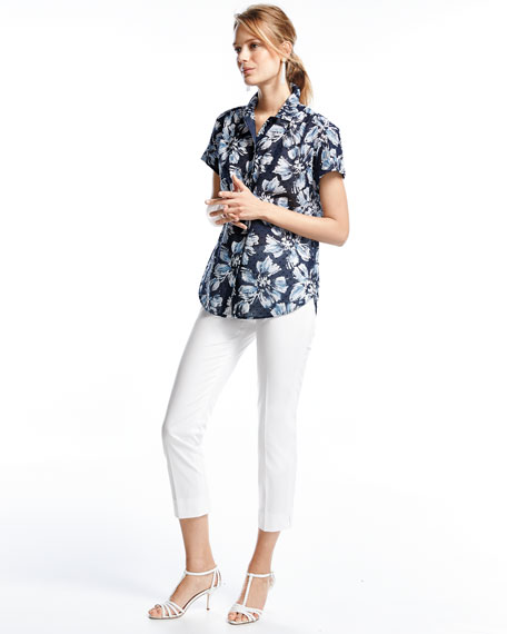 Image 2 of 3: Irina Short-Sleeve Floral-Print Blouse, Multi