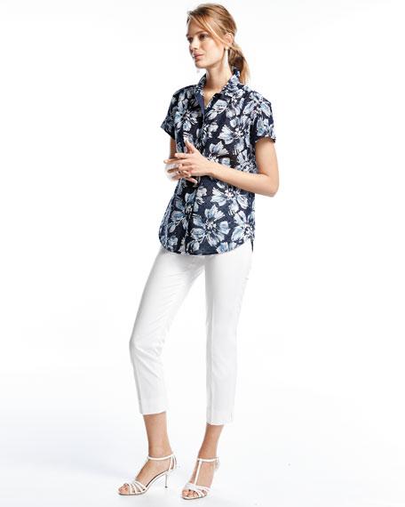 Irina Short-Sleeve Floral-Print Blouse, Multi