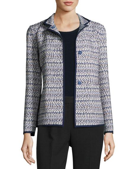 Branson Stand-Collar Tweed Jacket, Multi