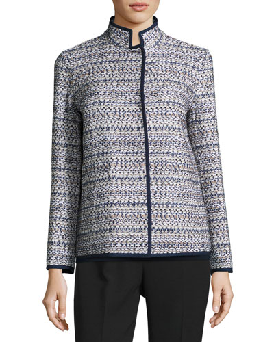 Branson Stand-Collar Tweed Jacket, Multi