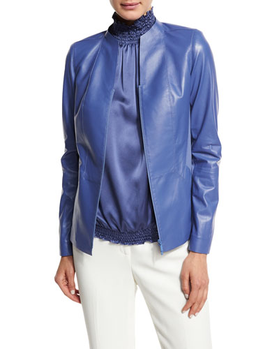 Lightweight Lambskin Paneled Zip-Front Jacket, Blue