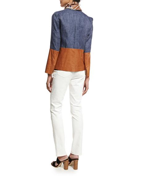 Isaiah Zip-Front Colorblocked Linen/Lambskin Jacket, Multi