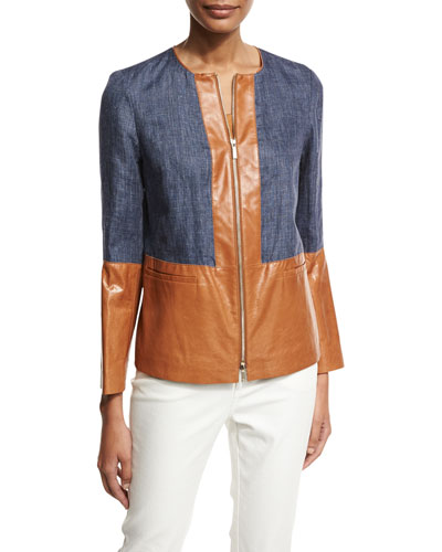 Isaiah Zip-Front Colorblocked Linen/Lambskin Jacket, Multi