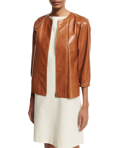 Wylie Lacquered Lambskin Zip-Front Jacket, Medium Brown