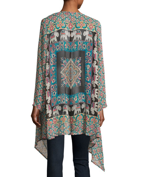 Gigi Georgette Elephant-Print Open-Front Jacket, Multi, Plus Size