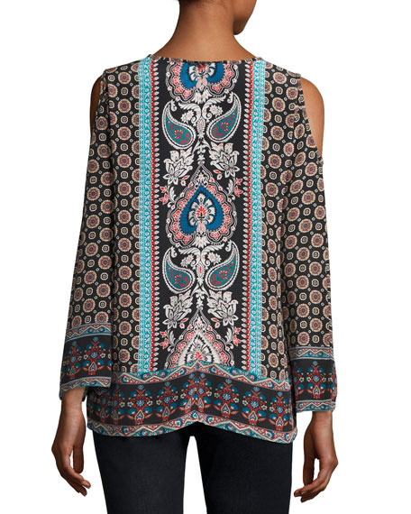 Claire Cold-Shoulder Printed Top, Multi