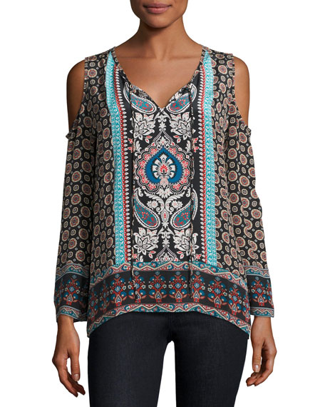 Claire Cold-Shoulder Printed Top, Multi, Plus Size