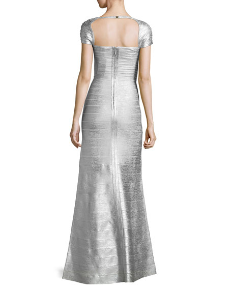 Square-Neck Cap-Sleeve Bandage Gown, Silver Combo