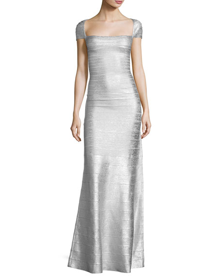 Herve Leger Square-Neck Cap-Sleeve Bandage Gown, Silver Combo