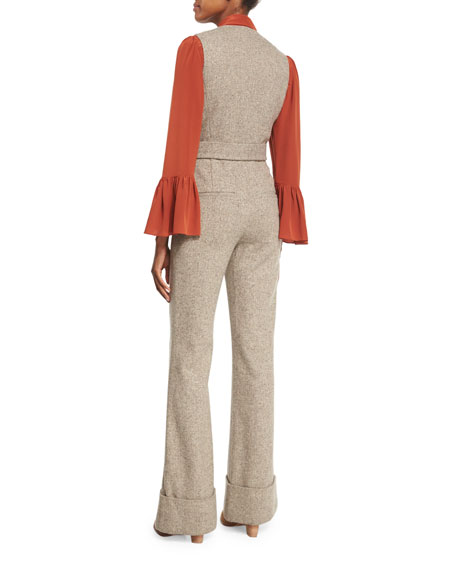 V-Neck Button-Front Herringbone Jumpsuit, Brown