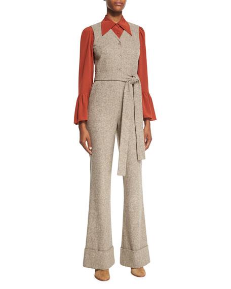 Co V-Neck Button-Front Herringbone Jumpsuit, Brown