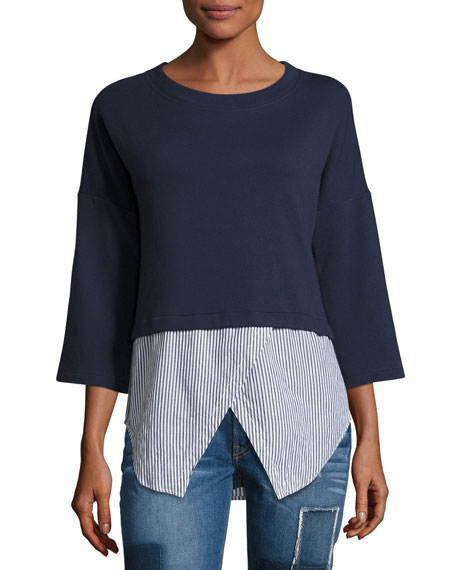 Derek Lam 10 Crosby Faux 2-in-1 Sweatshirt &