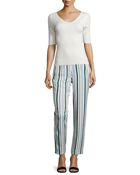 Villa Striped Straight-Leg Pants