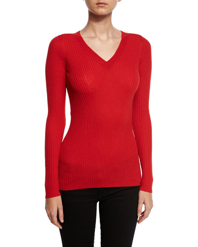 Ribbed Wool V-Neck Sweater, Red