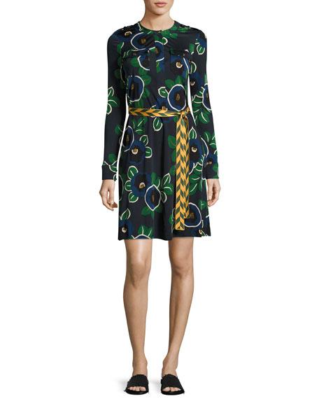 Portia Floral-Print Jersey Shirtdress, Blue Pattern