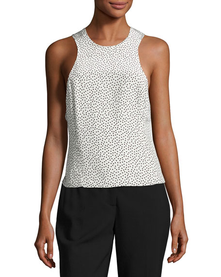 Silk Polka-Dot Twist-Back Tank, Cream/Black