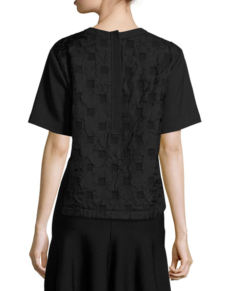 Short-Sleeve Boxy Jacquard Cloque Top, Black