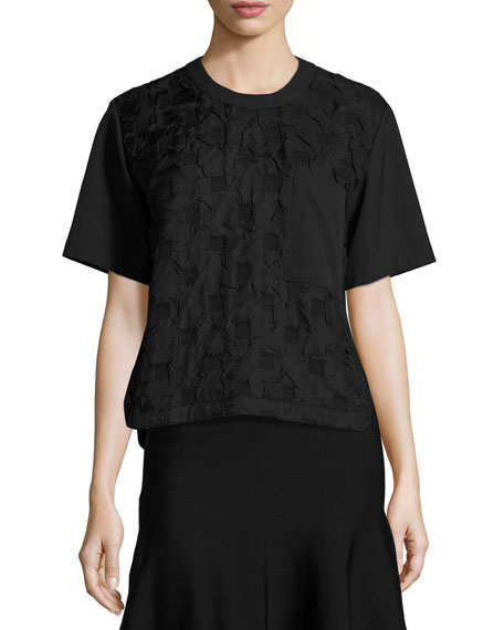 GREY Jason Wu Short-Sleeve Boxy Jacquard Cloque Top,