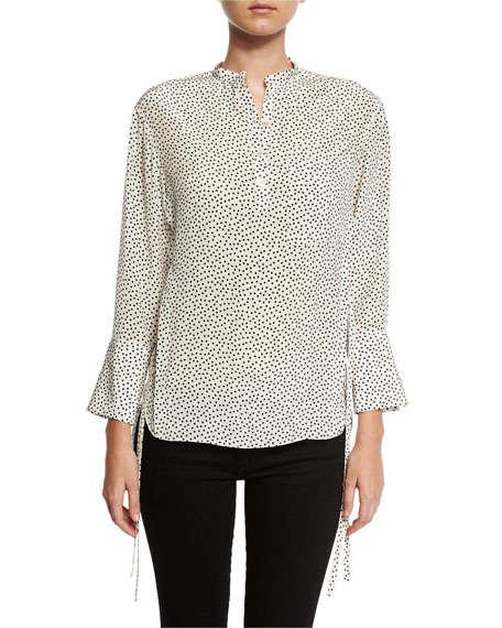 GREY by Jason Wu Silk Polka-Dot Blouse, Cream/Black
